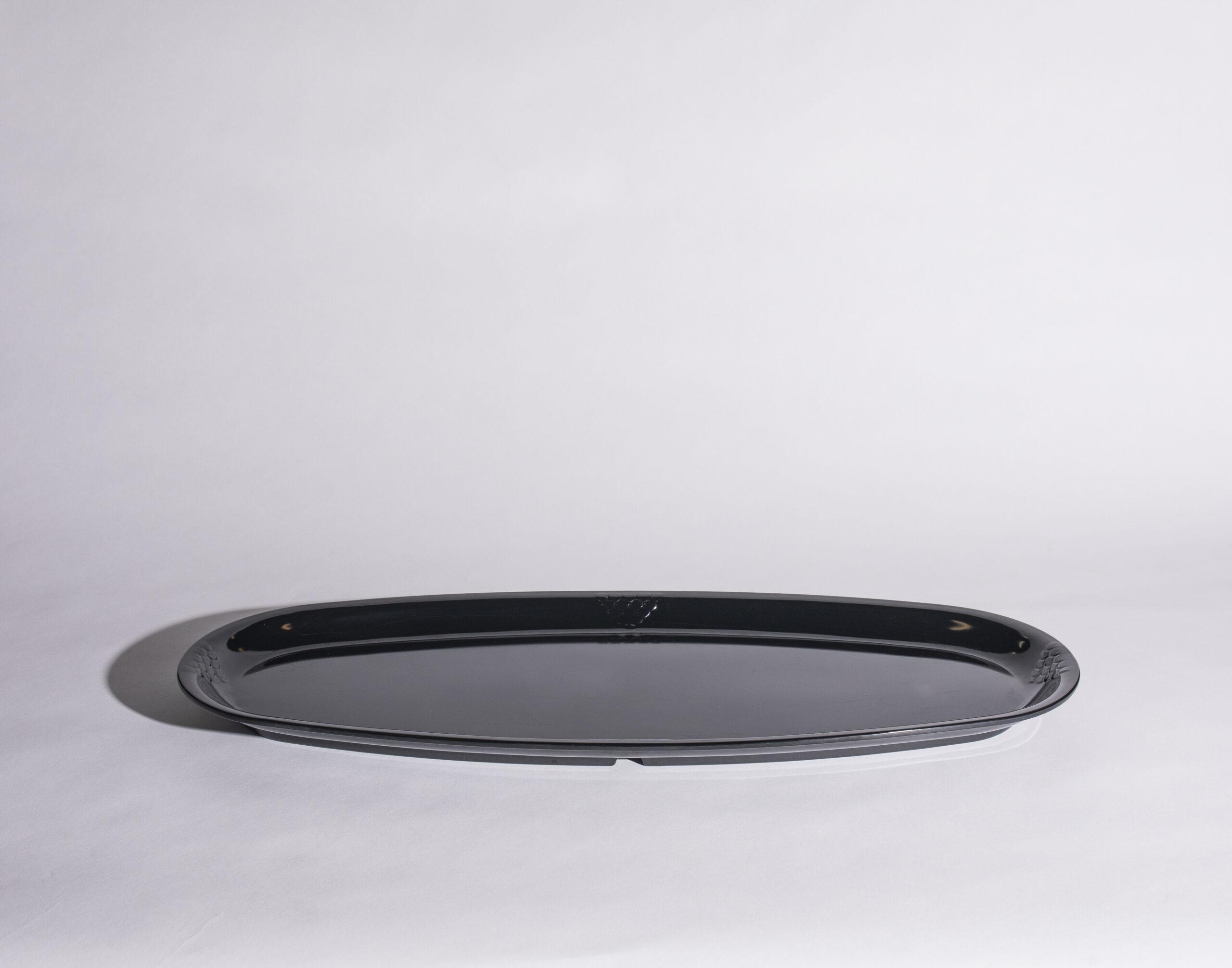 Food tray (oval, black, plastic)