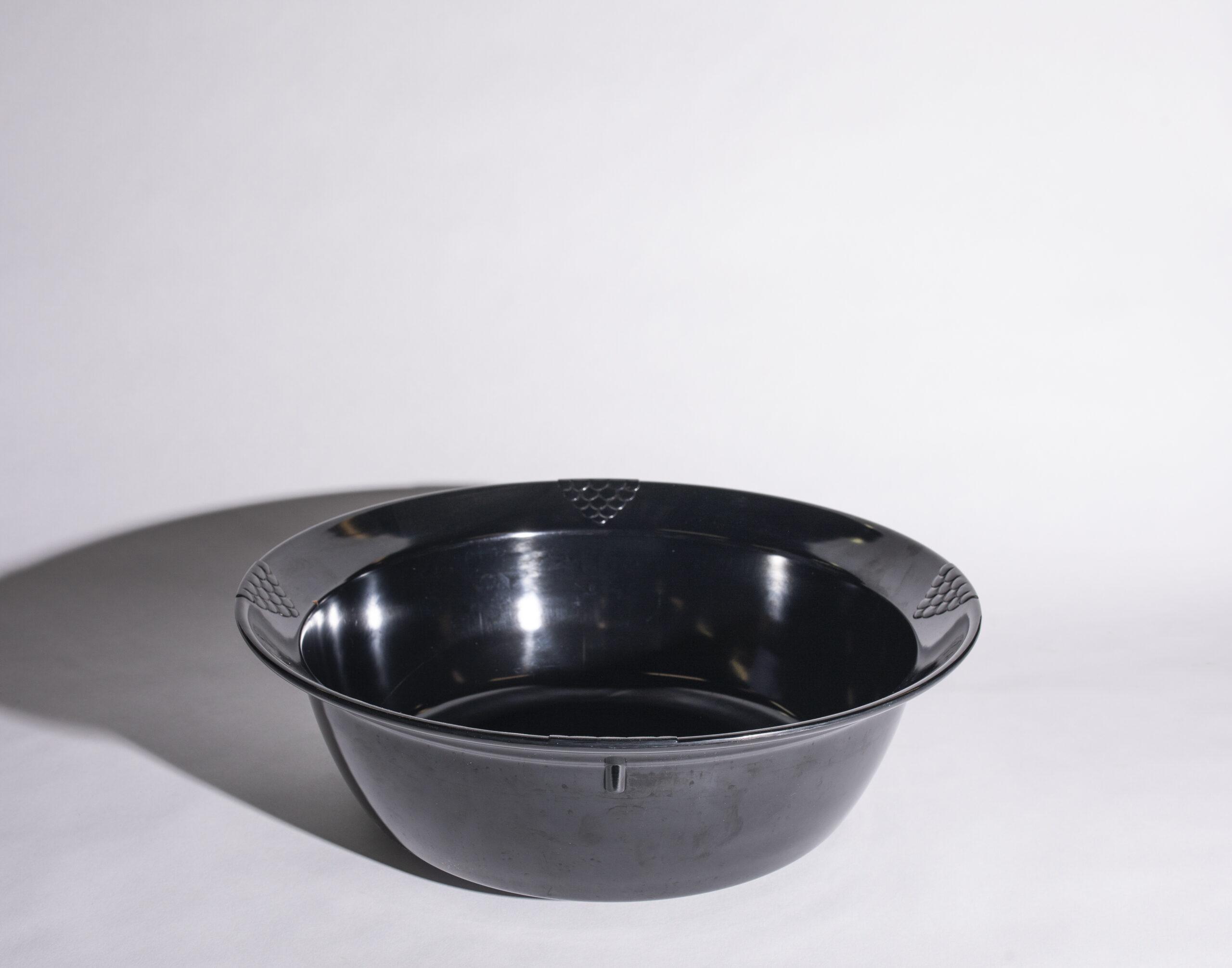 Salad bowl (18'', round, black, plastic)