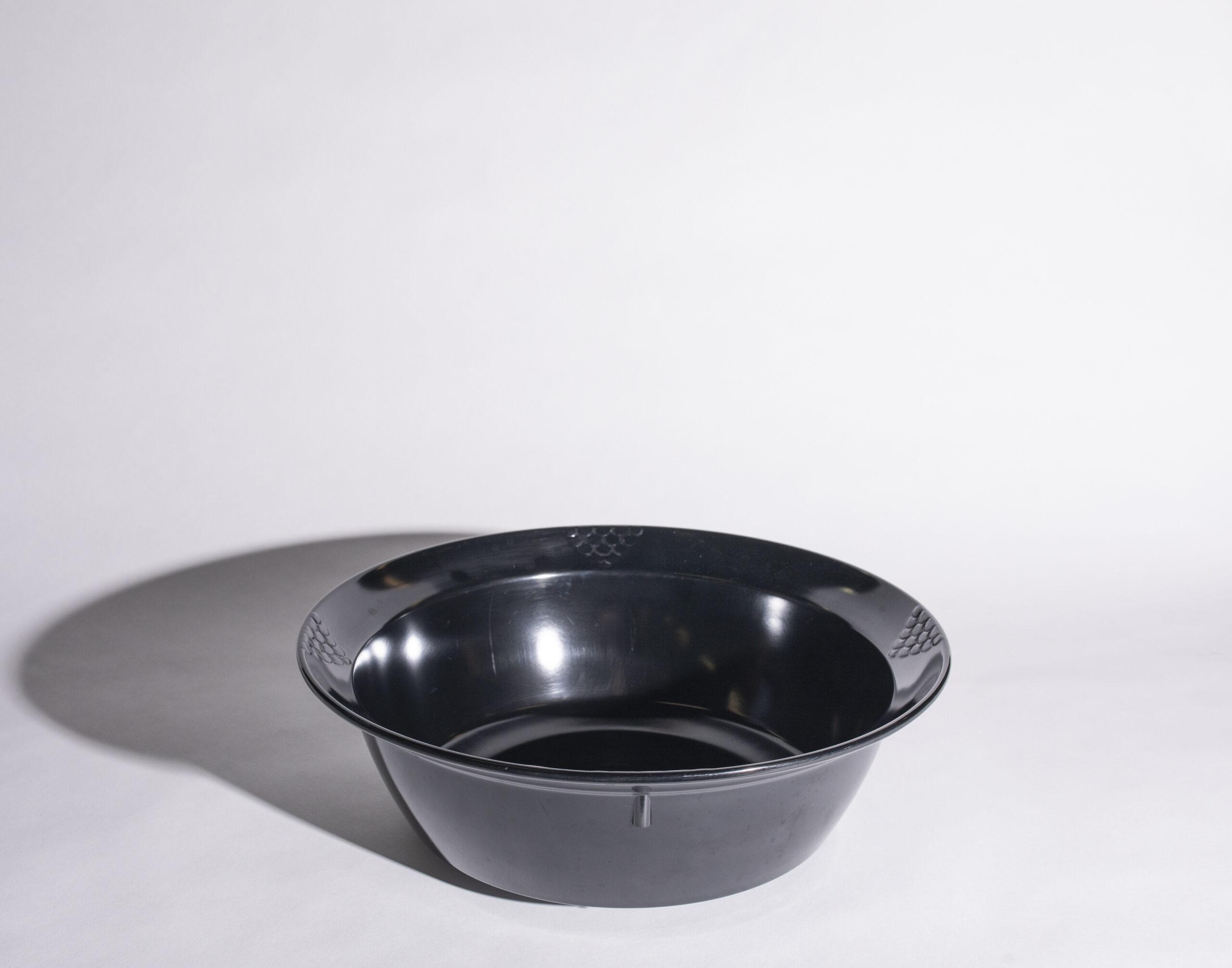 Salad bowl (15'', round, black, plastic)