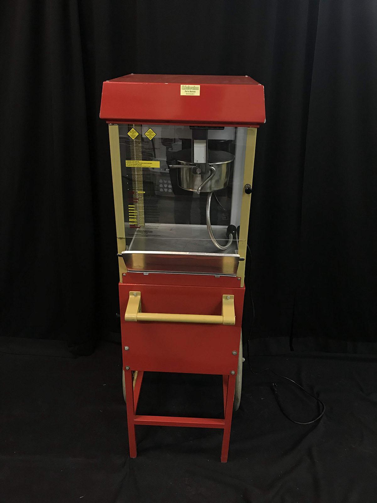 Popcorn machine (on wheels, metal)
